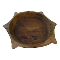 Old wooden carved chapati bowl from India used to make flatbreads