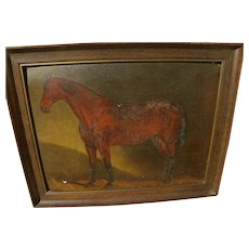 English sporting art 1899 painting of thoroughbred horse in stall signed with monogram
