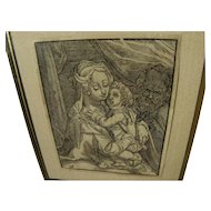 CHRISTOFFEL VAN SICHEM (1546-1624) Old Master woodblock print of Madonna and Child after Albrecht Durer