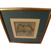 Antique circa 1619 engraved map of island of Jamaica from estate of Charlton Heston