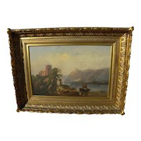 19th century extensive English landscape with castle ruins possibly by American hand