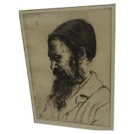 HERMANN STRUCK (1876-1944) limited edition pencil signed etching of a Jewish man
