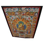 Contemporary Tibetan thangka original painting featuring central figure Buddha surrounded by smaller figures
