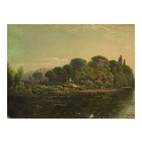 EDWIN H. BODDINGTON JR. (1836-1905) English 19th century art listed painter river scene