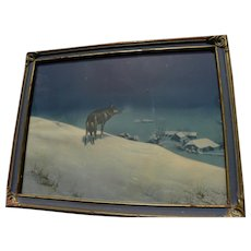 """Famous 1920's """"Lone Wolf"""" print by Alfred Kowalski-Wierusz (1849-1915) in attractive vintage 1920's frame"""