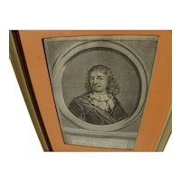 JACOBUS HOUBRAKEN (1698-1780) engraving of a Dutch 18th century admiral by noted printmaker