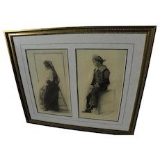 """HAROLD KNERR (1882-1949) pair of original charcoal male and female figure drawings by American cartoonist illustrator known for """"Katzenjammer Kids"""""""