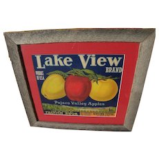"Framed 1920's fruit crate label ""Lake View Brand"" Pajaro Valley apples"