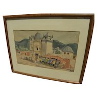 Vintage signed watercolor painting of old church in Central America or Mexico