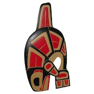 "FRED BAKER (1956-) Northwest Coast art hand carved painted wall hanging ""Killer Whale"" by listed artist"