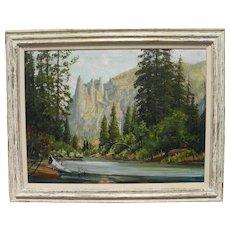 JAMES MERRIAM (1880-1951) California plein air art large oil painting of Yosemite Valley