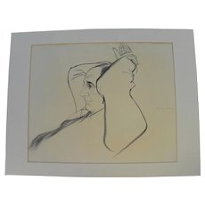 HENRY KOEHLER (1927-) original charcoal illustration drawing by important American sporting artist and illustrator