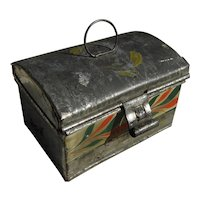 Folk art Americana circa 1840 decorated tin small box