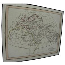"Map ""World as known to Ptolemy"" from 1835 book"