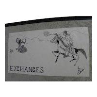 Charming vintage naive cowboys and indians ink drawing