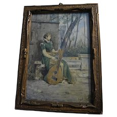 DANTE PAOLOCCI (1849-1926) fine watercolor 1875 painting of lady and lute on a patio by Italian artist and illustrator