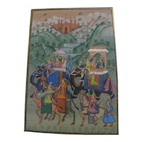 Classic Indian art detailed drawing of elephants, camel and horse with royal riders in exotic landscape