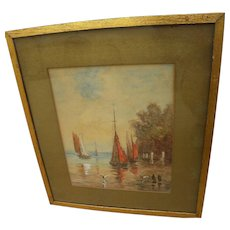 Antique watercolor painting of small sail boats by a dock