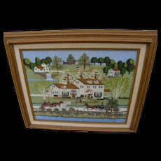 Americana folk art contemporary hand embroidered landscape scene after Charles Wysocki