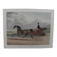 Sporting art hand colored English aquatint print of famous horse Lord William and sulky after William J. Shayer painting