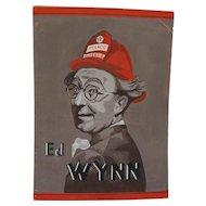 Petroliana original gouache drawing of comedian actor Ed Wynn of Texaco's 1930's The Fire Chief radio show