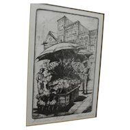 "HARRIET GENE ROUDEBUSH (1908-1998) pencil signed etching ""Flower Stand"" by listed San Francisco artist"