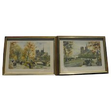 CHARLES BLONDIN (1913-1991) pencil signed limited edition **PAIR** of Paris prints Seine River including Notre Dame