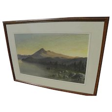 ALFRED FARNSWORTH (1858-1908) early California art fine watercolor painting of Mt. Tamalpais near San Francisco by well listed artist