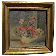 VERNE of Laguna Beach miniature California still life painting by Laguna Beach artist
