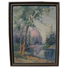 EVA VANLOAN SMITH (1890-1982) California plein air art landscape painting possibly Yosemite