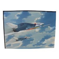 R. G. SMITH (1914-2001) important aviation artist original watercolor and gouache painting of military jet aircraft