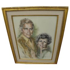 Charlton Heston memorabilia original 1980 portrait in pastel by listed African-American artist ARTIS LANE (1927-)