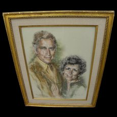 Charlton Heston memorabilia original 1980 portrait in pastel by listed African-American artist ARTIS LANE (1927-)