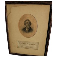 WILLIAM MAKEPEACE THACKERAY (1811-1863) original autograph framed with portrait engraving of the famous English author