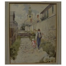 Nantucket Massachusetts fine old 19th century street scene watercolor painting artist unknown