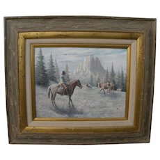 Contemporary western American painting of mounted cowboy in a landscape signed WESLEY FULLER