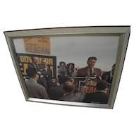 Ronald Reagan political memorabilia color photograph of California 1966 gubernatorial campaign signed by photographer Bennett Alley