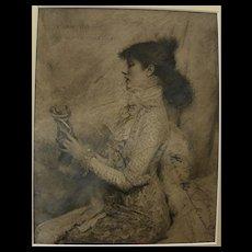 Sarah Bernhardt (1844-1923) autographed inscribed 1879 print of her by Jules Bastien-Lepage