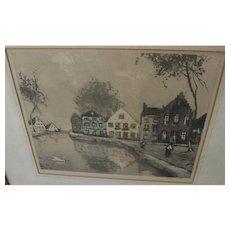 Vintage color etching of Low Countries houses pencil signed Van Gelden