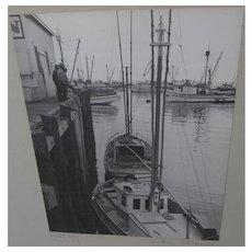 Circa 1950 black and white photograph of docks at Monterey California