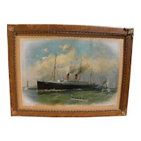 "After FRED PANSING (1844-1916) very large chromolithograph print of ship ""La Touraine"" by American marine artist"