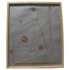 LUCIA STERN (1895-1987) rare original collage non-objective painting by the celebrated Wisconsin modernist artist