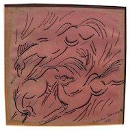SENAKA SENANAYAKE (1951-) Sri Lankan art original 1966 drawing by well listed artist
