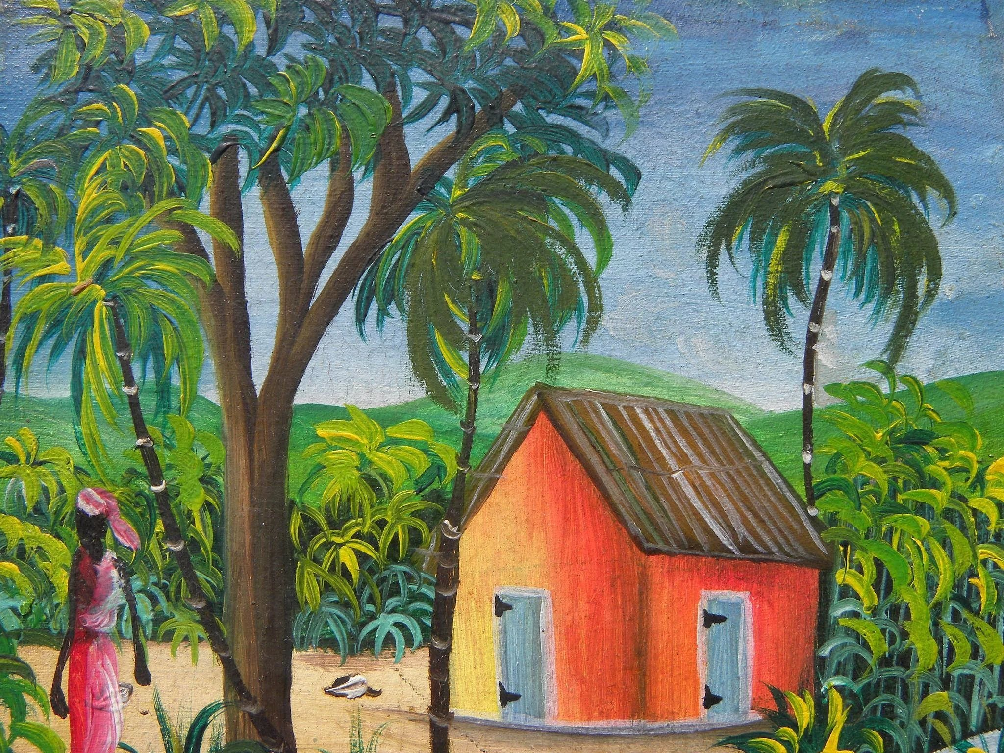 Haitian art colorful naive painting of women in tropical village ...