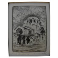 """HARRIET GENE ROUDEBUSH (1908-1998) pencil signed etching """"Temple Emanu El"""" by listed San Francisco artist"""
