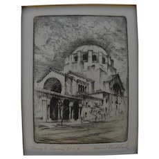 "HARRIET GENE ROUDEBUSH (1908-1998) pencil signed etching ""Temple Emanu El"" by listed San Francisco artist"