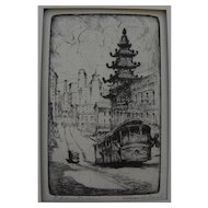 """HARRIET GENE ROUDEBUSH (1908-1998) pencil signed etching """"Chinatown"""" by listed San Francisco artist"""
