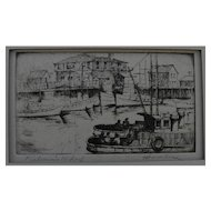 "HARRIET GENE ROUDEBUSH (1908-1998) pencil signed etching ""Fisherman's Wharf"" by listed San Francisco artist"