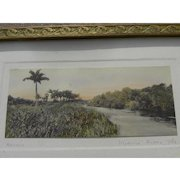 """Floridiana very early """"Miami River"""" colored photograph by well known Saint Augustine photographer W. J. Harris"""
