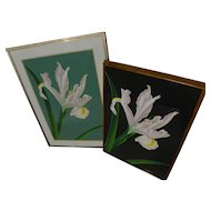 BRIAN DAVIS (1946-) **pair** photo-realist style pencil signed limited edition pochoir floral prints